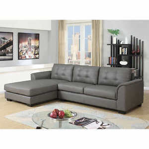 Montello Grey Leather Air Fabric Sofa with Left Hand Facing Chai