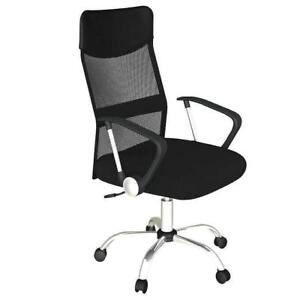 BLOW OUT SALE - Mesh Office Chair with Arms - Fabric - Black (Brand New) (SHIPPING OPTION AVAILABLE)