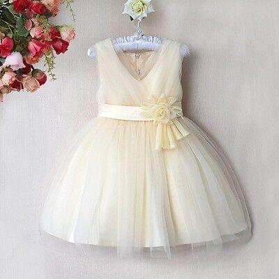Beautiful Girls Cream Chiffon Flower Girl Bridesmaid Occasion Party Dress - SALE