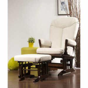 Beige Multiposition Lock Glider Rocking Chair with Ottoman