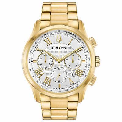 Bulova Men's 97B171 Wilton Chronograph Silver Dial Gold-Tone Band 44mm Watch