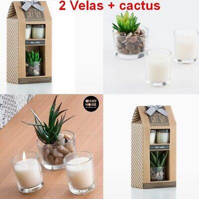 Set de 2 Velas Perfumadas con aromas 5x6 cm + Cactus de...