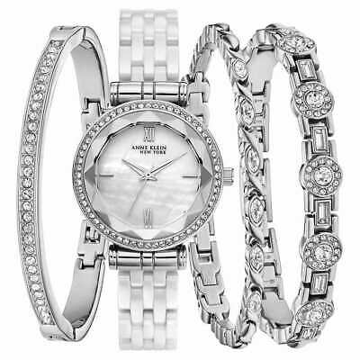 Anne Klein Ladies 12/2317WTST Crystal Accented Silver-Tone Watch w/ MOP Dial