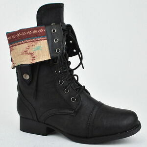 ... Lace Up Military Army Combat Riding Fold Over Boots Shoes Wild Diva
