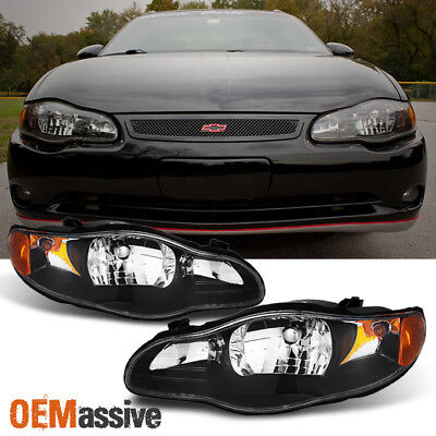 Fit 00-05 Monte Carlo Black Headlight Front Lamps Replacement Left + Right Monte Carlo Right Headlight