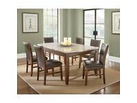 Marble top dining table and six chairs