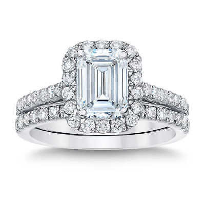 1.45 Ct Halo Emerald Cut Diamond Engagement Ring U-Set Round Accents E,VS2 GIA 2