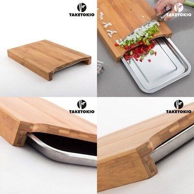 Tabla de Cocina de madera de Bambú ecológica con Bandeja interior, menaje,...