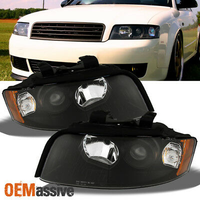 Fit 2002-2005 Audi A4/S4 Black Replacement Projector Headlights L+R