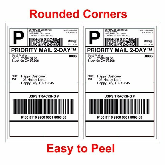 1000 SHIPPING LABELS ROUNDED CORNERS 2 PER SHEET 8.5 X 11 SE