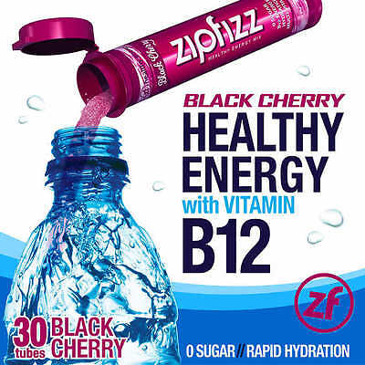 Energy Cherry - Zipfizz Healthy Energy Drink Mix, 30 Tubes, Black Cherry, NO TAX