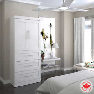 400$ BRAND NEW White 90.7cm Storage Unit with Drawers and Doors