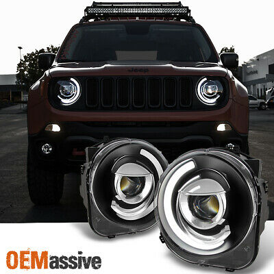 Fit NEW Design [Black] 15 16 17 18 Jeep Renegade C-Shape LED Projector Headlight