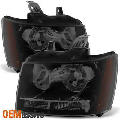 Fit 2007-2013 Chevy Avalanche Suburban Tahoe Black Smoked Headlights L+R Pair