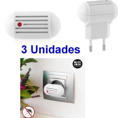 Pack 3 Unidades Enchufe eléctrico Antimosquitos por Ultrasonidos, bajo consumo