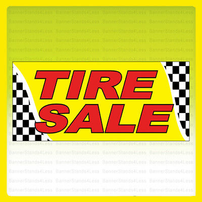 Tire Sale Vinyl Banner Sign Checkered 2x4 Ft - Yb