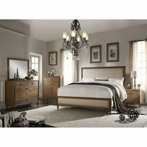 Brendon 6 Piece Bedroom Set: Linen HB, FB, Side Rails, Bed Rails, 2 Nightstands, 1 Dresser, 1 Tall Chest, 1 Mirror