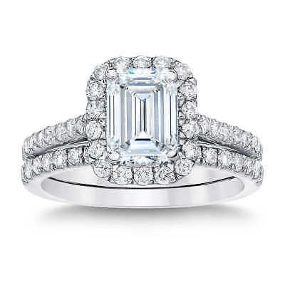 18K WG 2.00 Ct Halo Emerald Cut Diamond Engagement Ring U-Setting I,VVS1 GIA New 2
