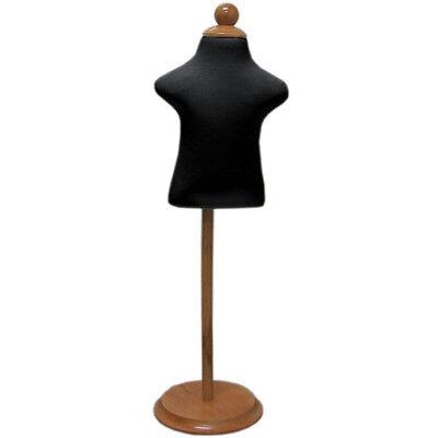 Mn-302 Black Infant Child Dress Form Mannequin Adjustable Wood Stand 6mo-12mo