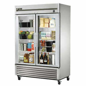 NEW TRUE Double Door Stainless Steel Glass Door Cooler
