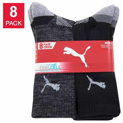 Puma Mid Calf Socks 8-pair Mens Crew Sock Black White Select Color