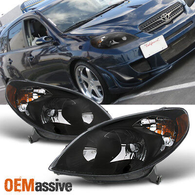Fits 2003-2008 Toyota Matrix Amber Black Bezel Headlights Headlamps Replacement