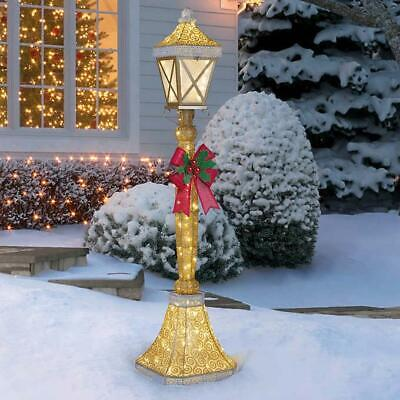 Lamp Post Decor 120 LED Lights 6' Bow Christmas Festive Holiday Indoor Outdoor