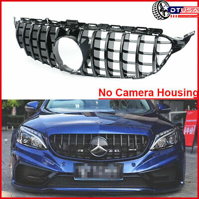 Black GT R Style Vertical Grill Grille for Mercedes-Benz C-Class W205 S205 14-18