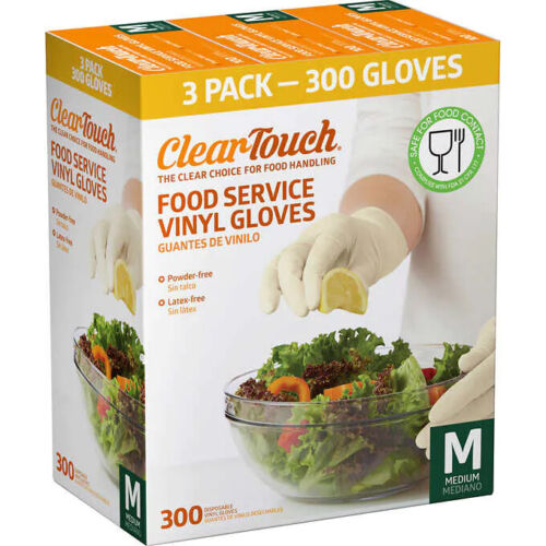 Clear-Touch Food Service Vinyl Gloves, Medium, 300 ct