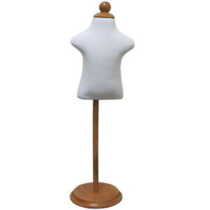MN-302 WHITE Infant Child Dress Form w/ Adjustable Wood Stand (Sizes 6mo-12mo)