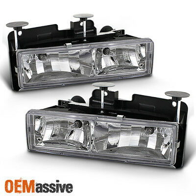 Fits 88-98 Chevy C/K Series C10 Pickup Truck Real Glass Crystal Headlights Lamps