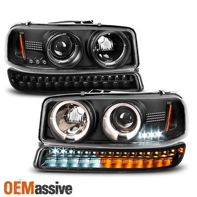 Fits 99-06 GMC Sierra Yukon Black Halo Projector Head Lights + LED Bumper (Gmc Sierra Halo Projector)