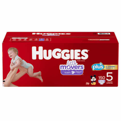 Huggies Little Movers  Baby Diapers, Size 5: 27lbs and up, 144 Count  CWS