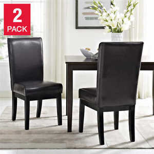 6 Rich Dark brown 'faux leather' dining chairs