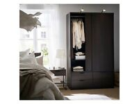 FREE DELIVERY 🚚 IKEA TRYSIL BROWN DOUBLE SLIDING WARDROBE WITH 4 DRAWERS GOOD CONDITION