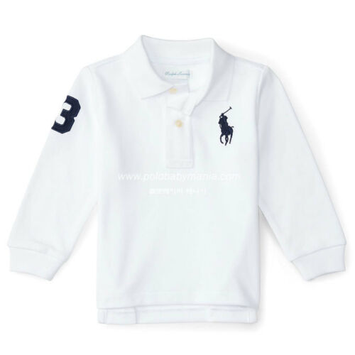 *NWT* POLO Ralph Lauren Baby Boy Cotton Mesh Polo Shirt : White,Gray/24Mons