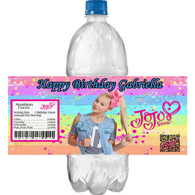 (20) Personalized JoJo SIWA 2 x 4 Glossy Water Bottle Labels ~ Waterproof Ink - Bottle Labels