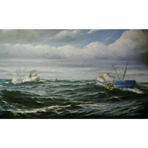 36 x 72 Oil on Canvas Painting - Scalloping by Jay Langford - Original Paintings and Art