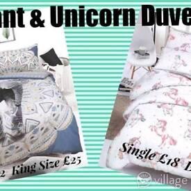 Unicorn and elephant duvet set