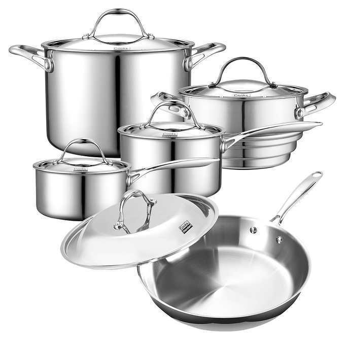 Tri-Ply Clad Stainless Steel 10-piece Cookware Set Magnetic