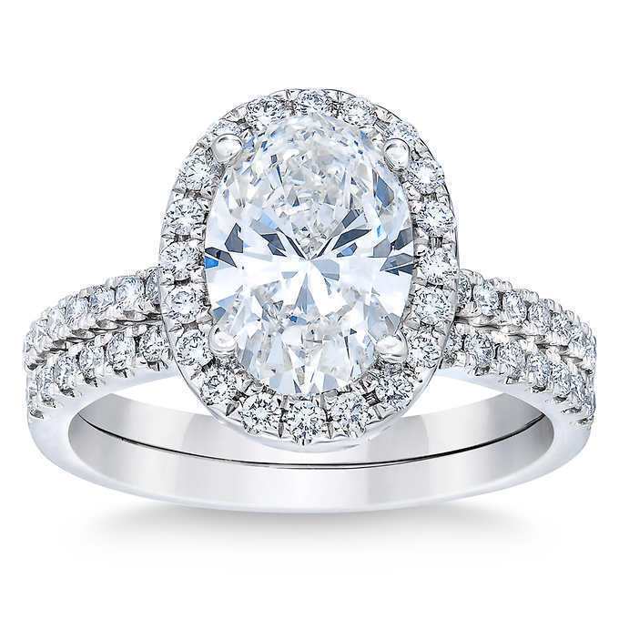 1.85 Ct. Oval Cut Halo Natural Diamond Engagement Ring Pave D, VVS2 GIA Cert 14k 2