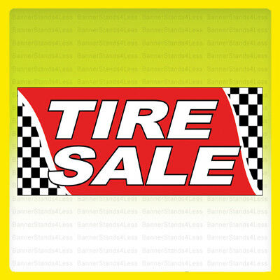 Tire Sale Vinyl Banner Tires Sign Checkered 3x10 Ft - Rb
