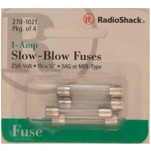 RadioShack Slow-Blow 1-Amp 250 Volt 3AG MDL Glass Fuses 1-1/4 X 1/4 1A 250V 4/PK
