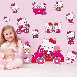 Pink-HELLO-KITTY-Art-Deco-Mural-Wall-Paper-Sticker