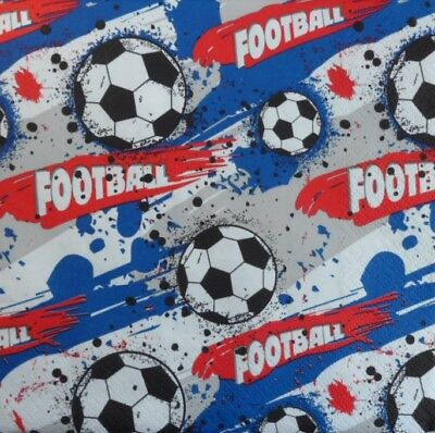 20 x Paper Napkins  Full Pack Football Table Party 17
