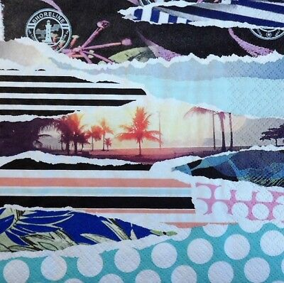 4 x Paper Napkins Torn Paper, Landscape Palm Trees for Decoupage Crafting 84
