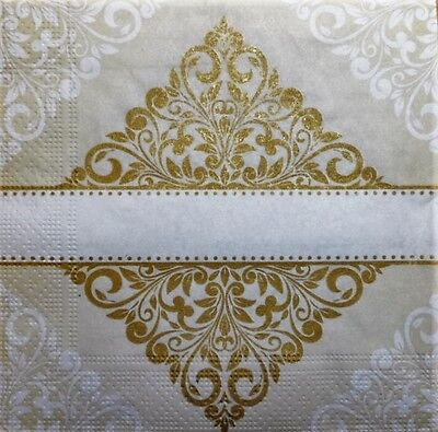 4 x Single Paper Napkins Gold Pattern Wallpaper for DECOUPAGE and CRAFT-94