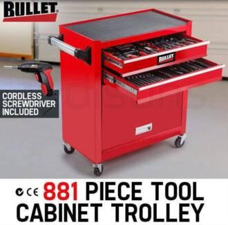881 Piece Metric Tool Cabinet Trolley Home Mechanic DIY Tool Set