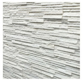 White Quartz Sparkly Strip Natural Stone Cladding Mosaic Tile