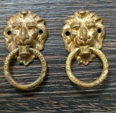 Antique pressed brass lion head ring handles for small box or tea caddy